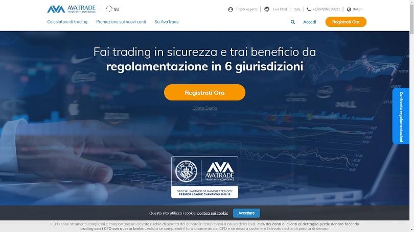 La pagina principale del sito di AvaTrade