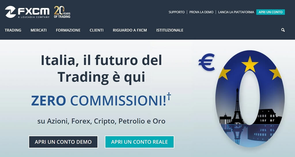 homepage principale di fxcm