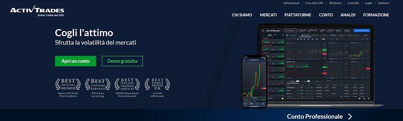 La homepage del sito di ActivTrades da cui aprire un conto di trading