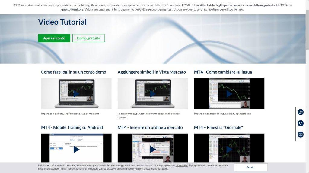 video tutorial di activtrades
