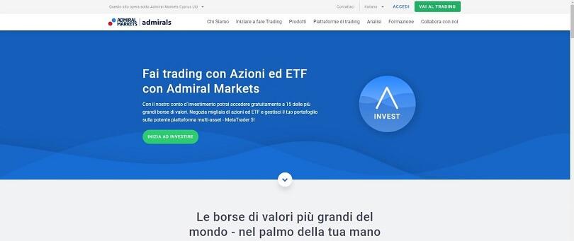 webpage degli etf su admiral markets