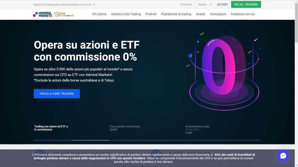 homepage principali di admiral markets