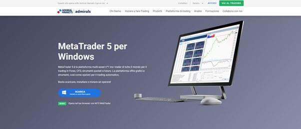 Presentazione della piattaforma MT5 di Admiral Markets per Windows