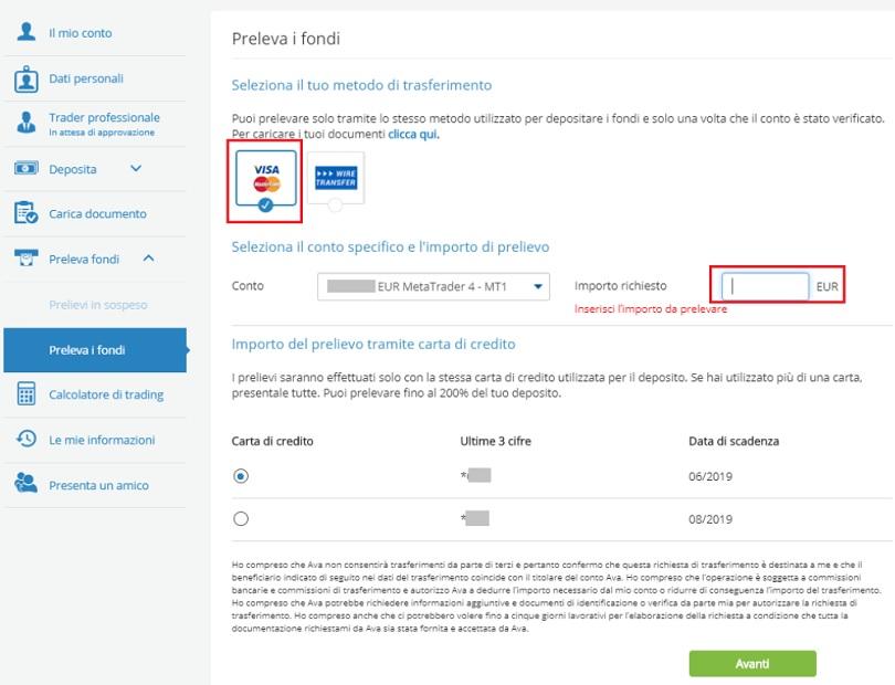 Come prelevare i proprio fondi dal conto di Avatrade