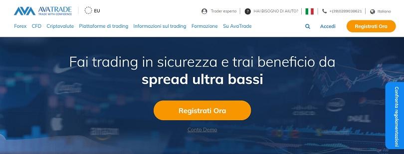 Presentazione della pagina principale del sito di Avatrade