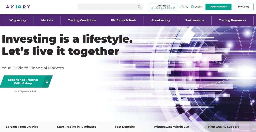 l'homepage di axiory