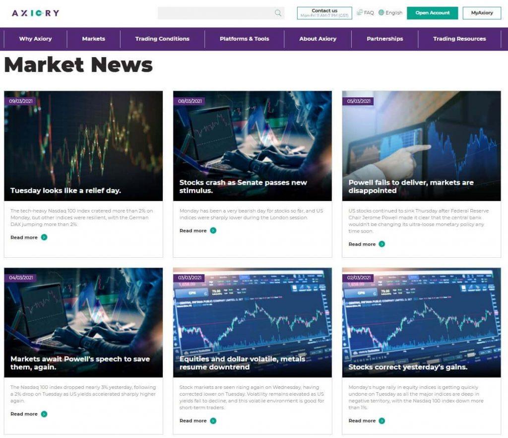 sezione notizie di mercato di axiory