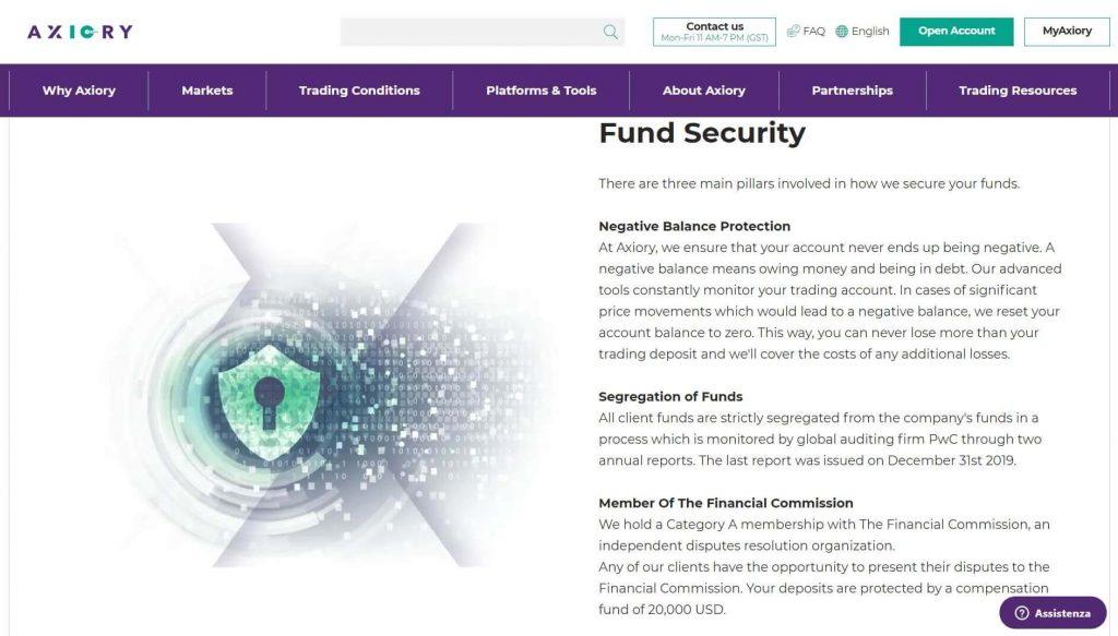 protezione dei fondi garantita da axiory