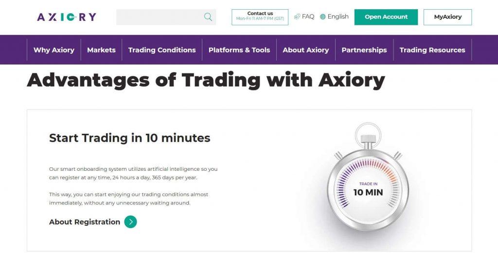 registrazione dell'account con axiory