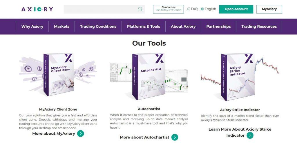 axiory tools per fare trading