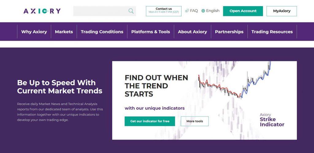 sezione trend di mercato di axiory