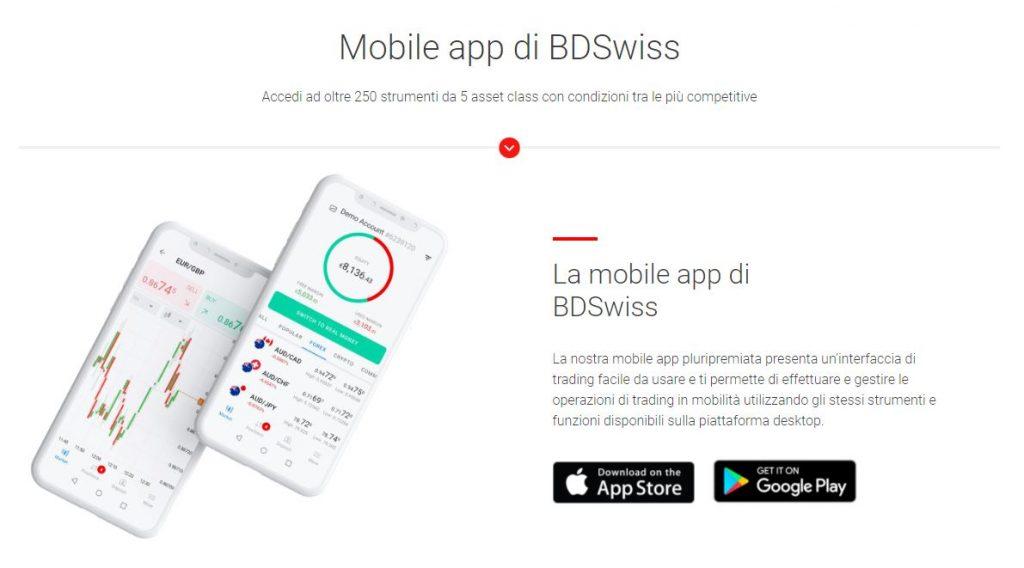La mobile app di BDSwiss