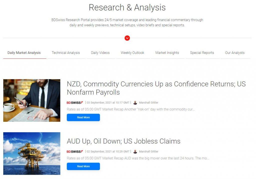 Sezione ricerca e analisi di BDSwiss