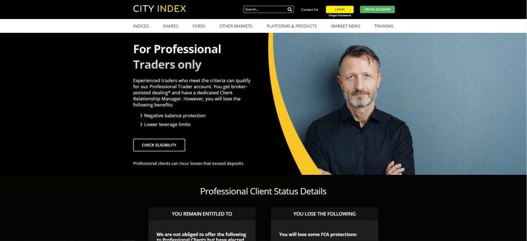 pagina dei clienti professionali di city index