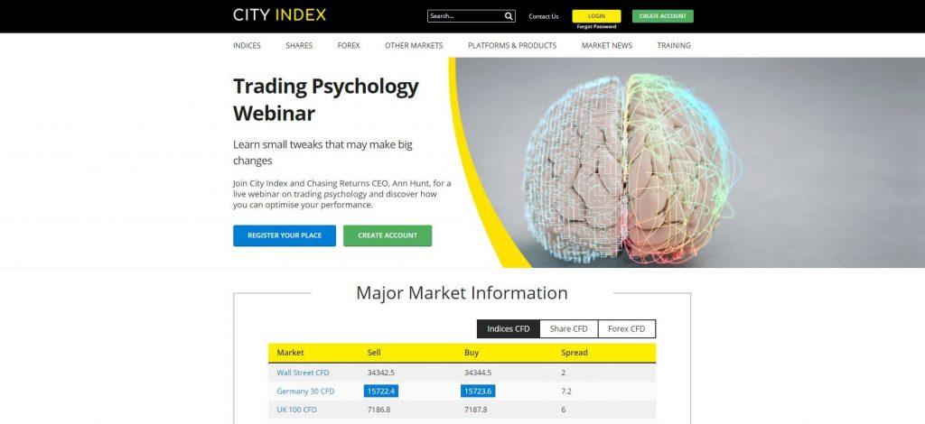 la homepage del sito di city index