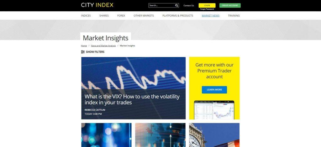 sezione market insight di city index