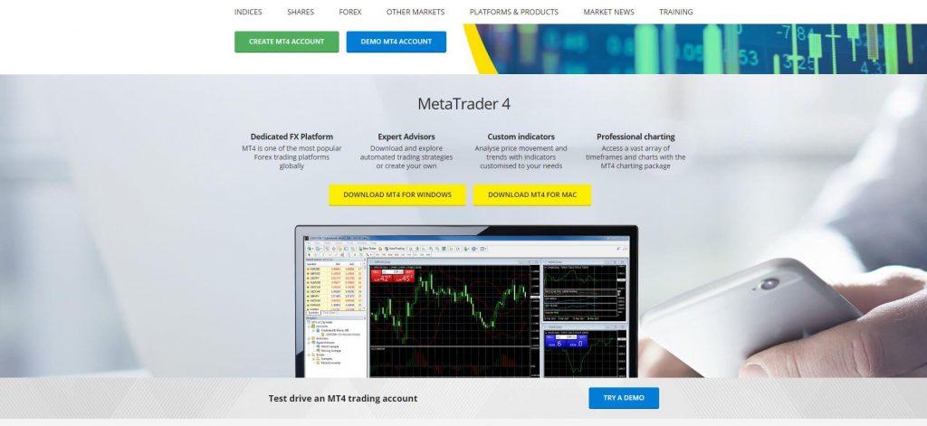 pagina della piattaforma mt4 di city index