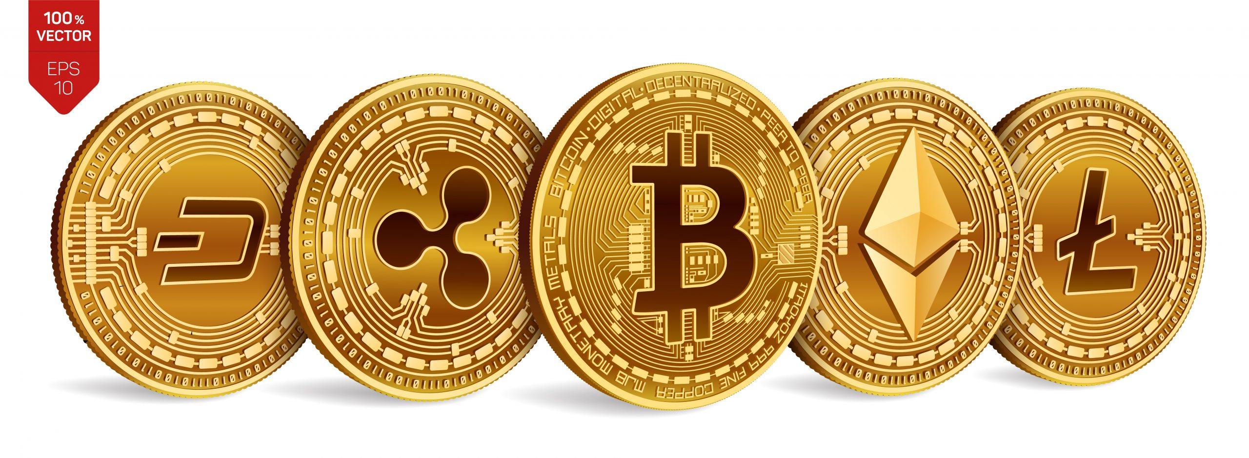 Rappresentazione su moneta di diverse criptovalute