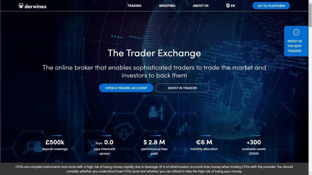 La pagina principale del sito di Darwinex