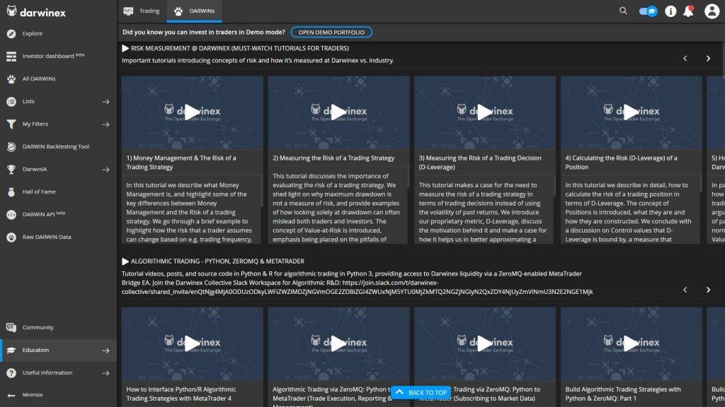 La sezione dedicata ai tutorial video di Darwinex