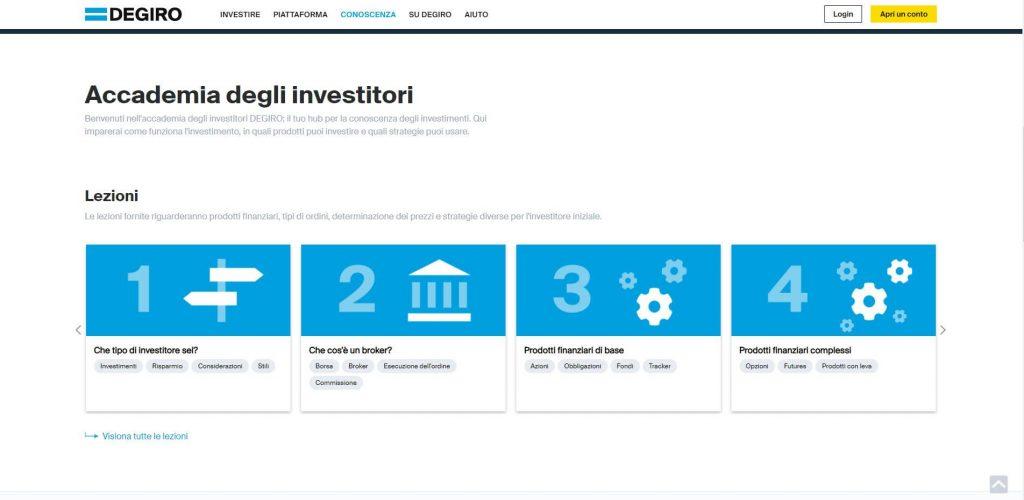 sezione accademia degli investitori di degiro