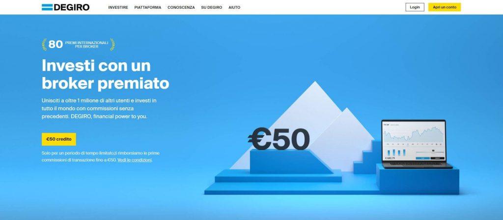 la homepage del sito di degiro