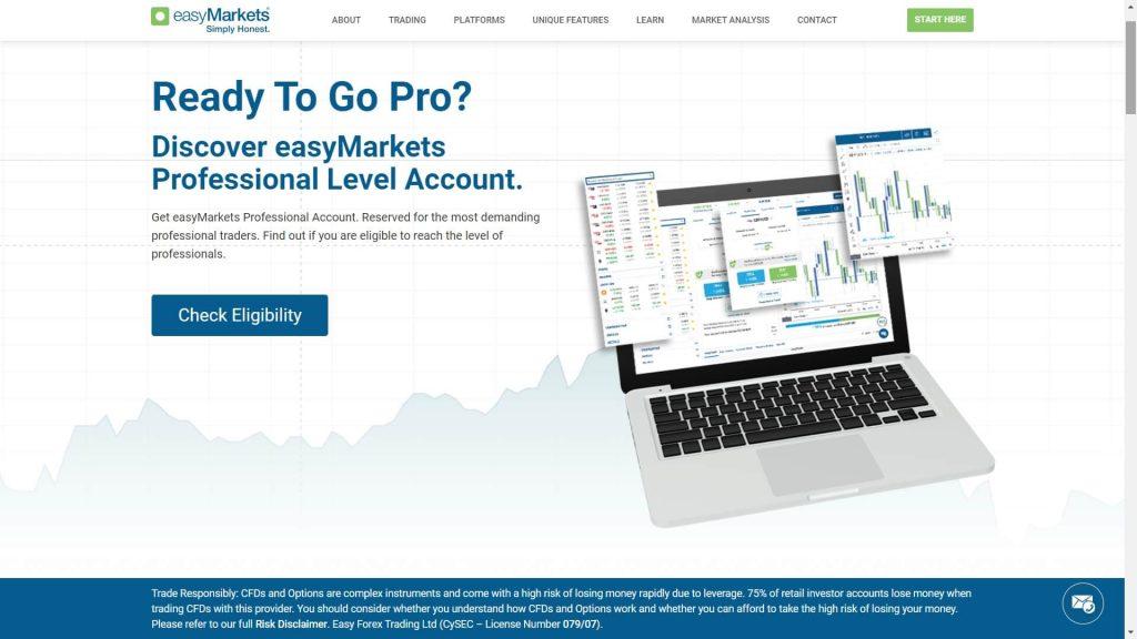 caratteristiche del conto pro di easymarkets
