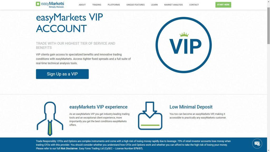 caratteristiche del conto vip di easymarkets
