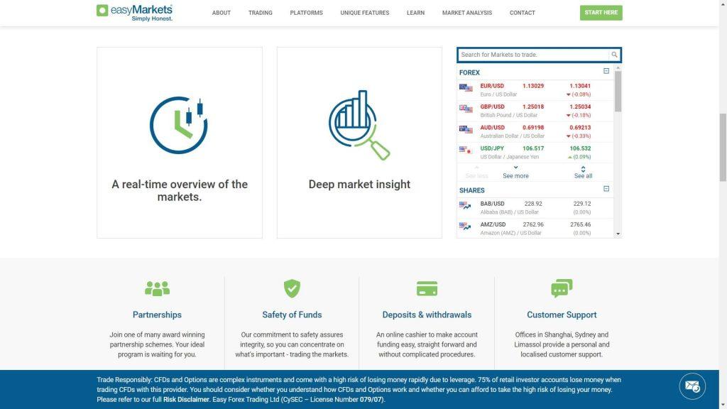 caratteristiche offerte dal broker easymarkets