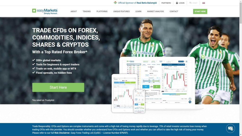 homepage principale di easymarkets