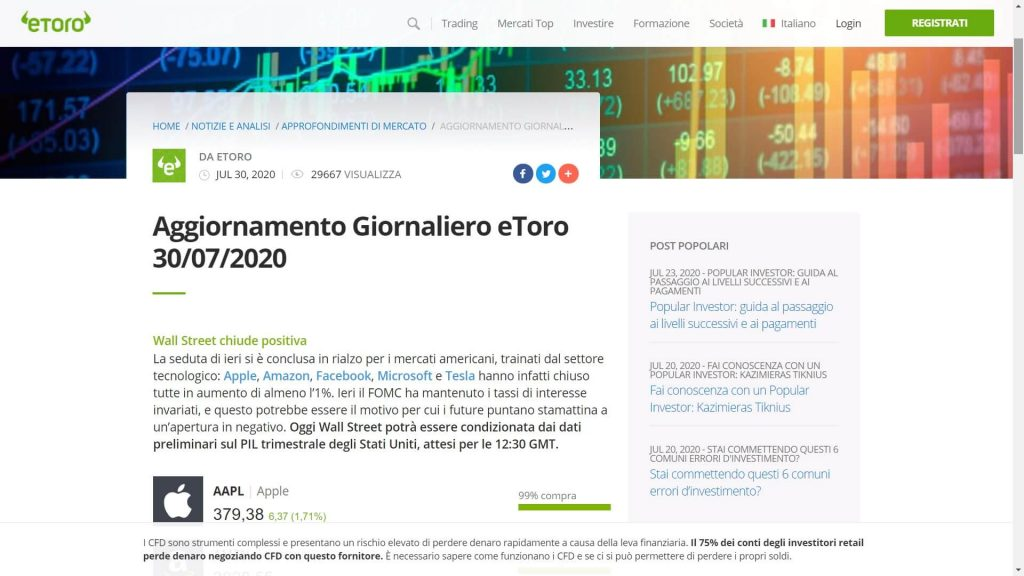 Le analisi sui mercati proposte da eToro