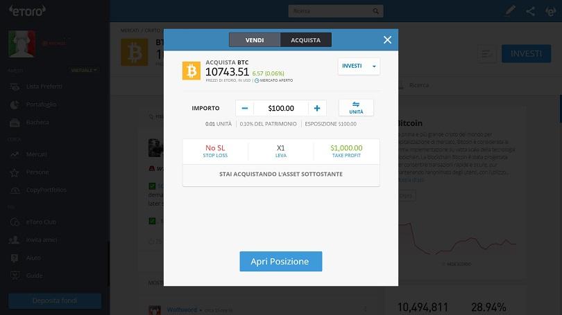 Aprire una posizione in bitcoin su eToro