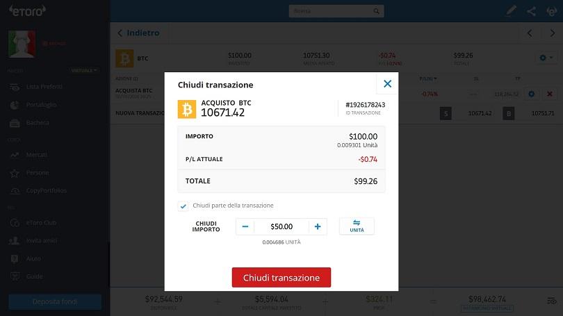 Chiudere una posizione in bitcoin su eToro