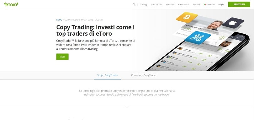 Il servizio di copy trading offerto da eToro