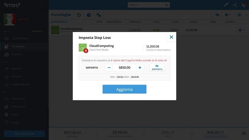 modificare stop loss con copy trading etoro