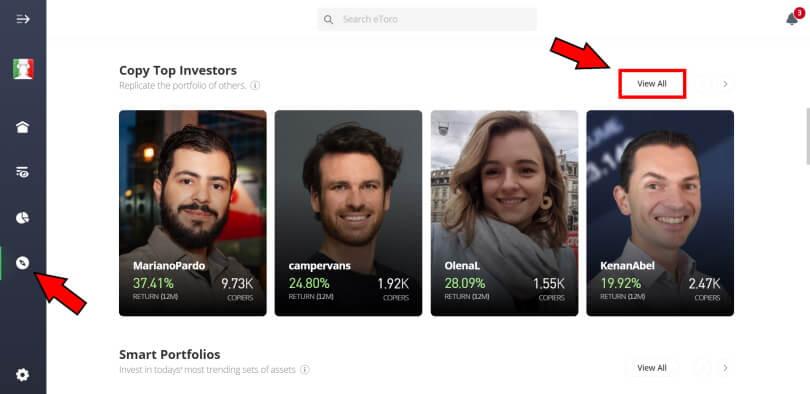 screenshot della piattaforma etoro discover