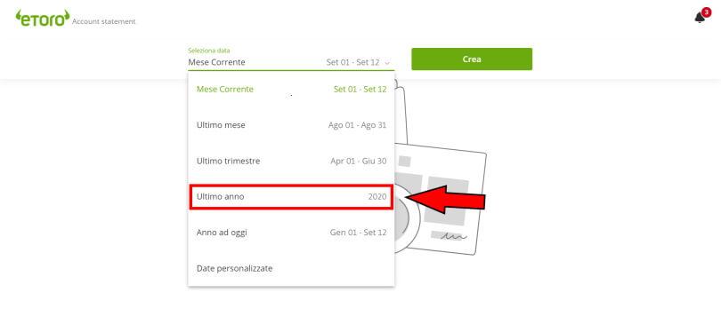 screenshot su sezione estratto conto eToro