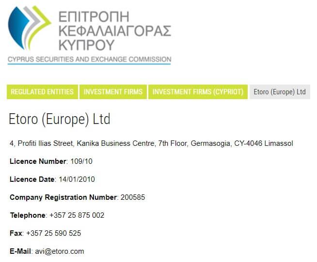 licenza CySEC ESMA di eToro