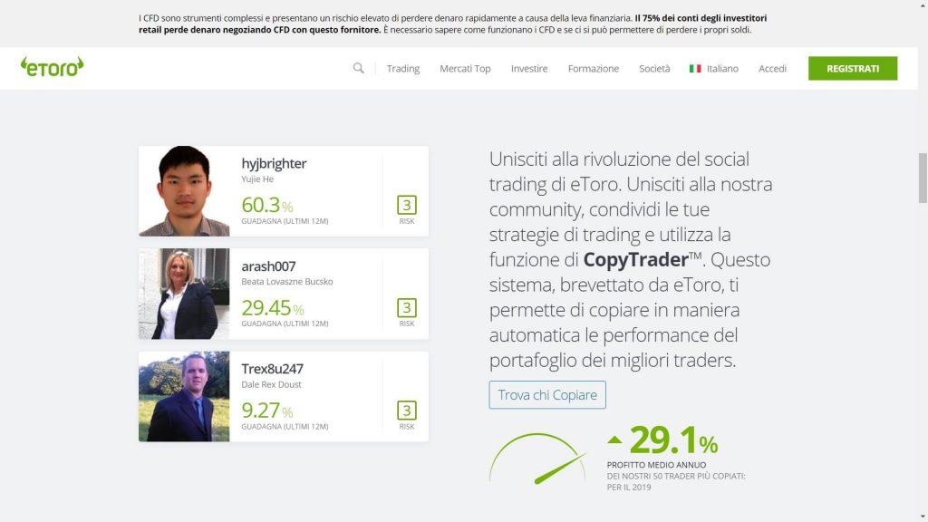 Unisciti al programma di Social Trading di eToro
