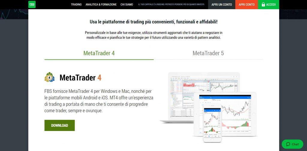 Usa la piattaforma più popolare di MetaTrader con FBS