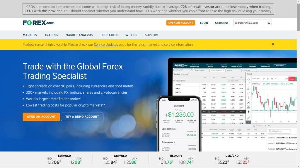 homepage principale di forex.com