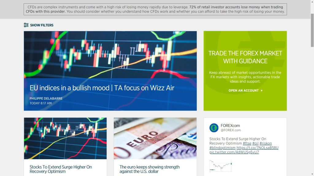 sezione ricerca delle notizie di forex.com