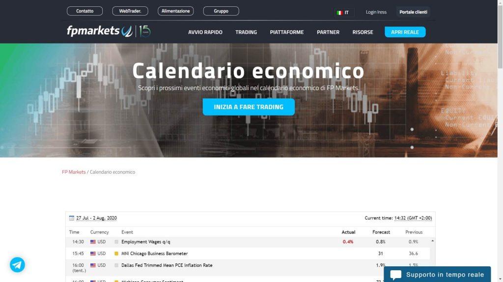 calendario economico di fp markets