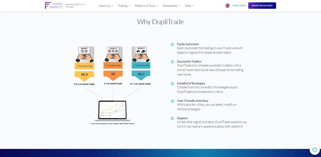 La piattaforma DupliTrade di Fusion Markets
