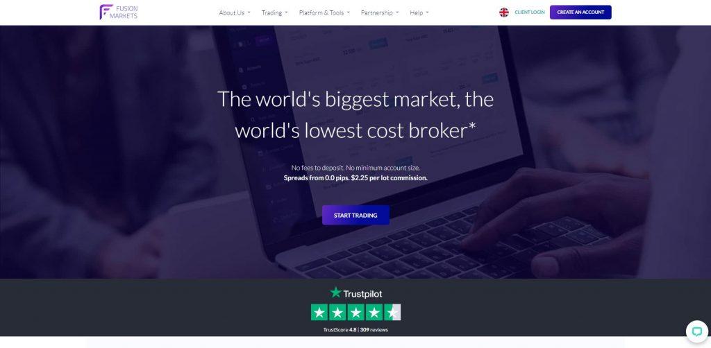 La pagina principale del sito di Fusion Markets