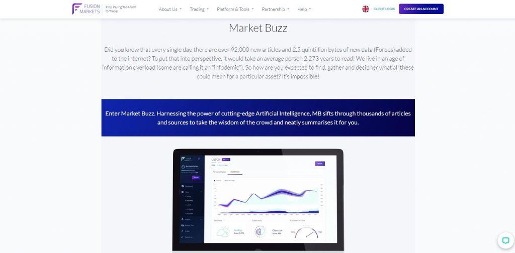 La funzione del market buzz di Fusion Markets