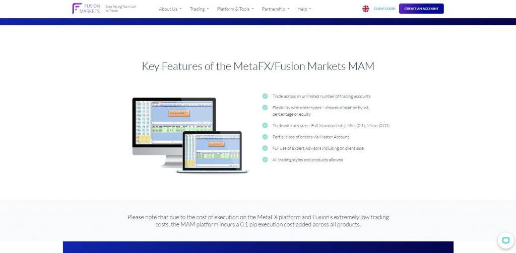 La piattaforma MetaFX di Fusion Markets