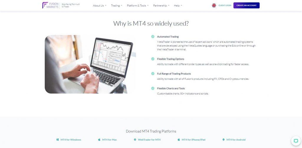 La piattaforma MT4 di Fusion Markets