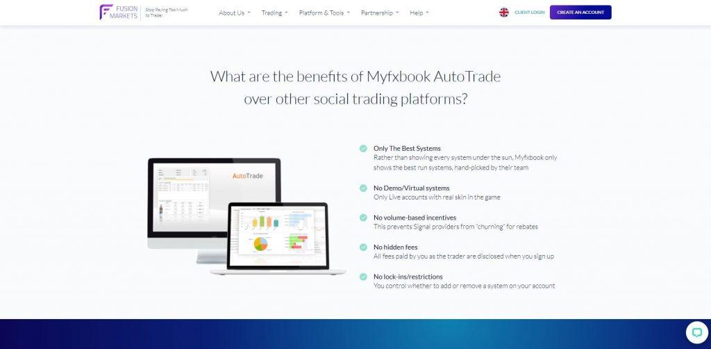 La piattaforma Myfxbook di Fusion Markets