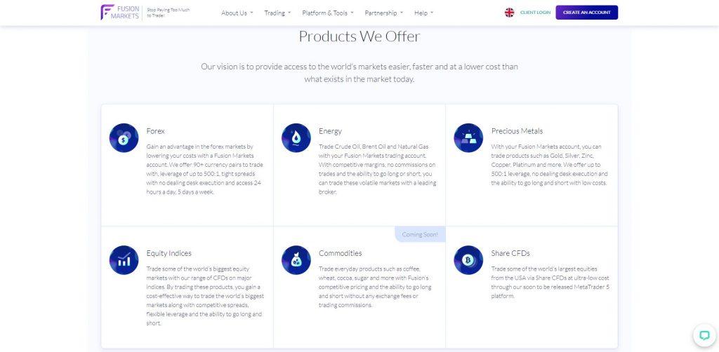 I prodotti offerti da Fusion Markets
